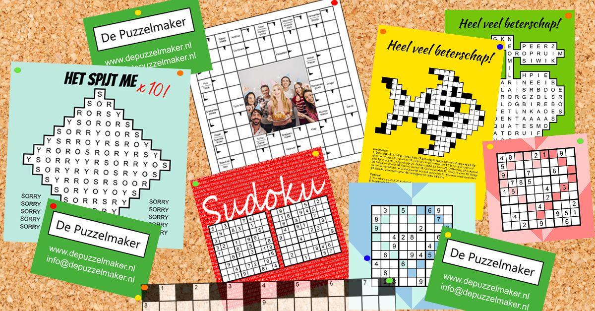 puzzelkaart puzzelkaartje puzzelkaartjes ansichtkaart kruiswoordpuzzel zweeds raadsel sudoku beterschap succes sorry puzzel kruiswoordpuzzel kruiswoordraadsel marije van asselt de puzzelmaker kaartje2go