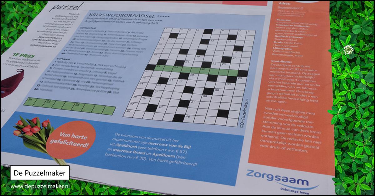 puzzelmaker marije van asselt puzzel puzzels denksport tijdschrift magazine kruiswoordpuzzel kruiswoord kruiswoordraadsel handicap gehandicapt zorgsaam