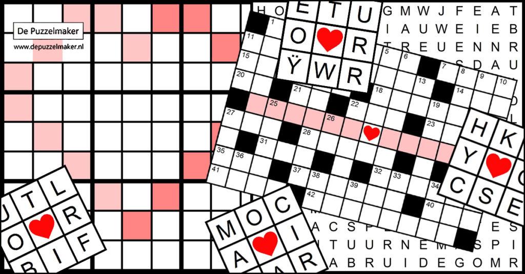 De Puzzelmaker Marije van Asselt kruiswoordpuzzel woordzoeker sudoku cryptogram pardensprong bruiloft trouwerij feest gelegenheid persoonlijk custom gepersonaliseerd