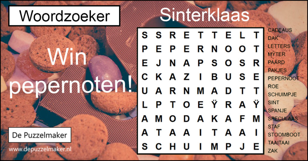 De Puzzelmaker Marije van Asselt Denksport woordzoeker puzzel puzzels puzzelen sinterklaas pepernoten winnen prijs actie facebook winactie wedstrijd
